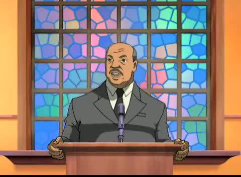 """Return of the King"" screenshot, Aaron McGruder's The Boondocks, originally aired, January 15, 2006. (Wikipedia). Qualifies as fair use due to picture's low resolution and direct subject of this blog post."