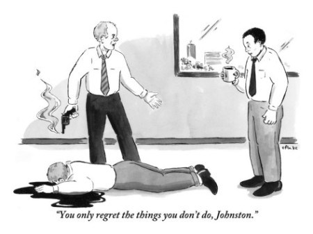 "Emily Flake's ""You only regret the things you don't do, Johnston,"" February 28, 2011. (http://newyorker.com)"