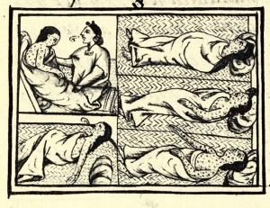 Drawing accompanying text in Book XII of the 16th-century Florentine Codex (compiled by Fray Bernardino de Sahagún, 1540–1585), showing Nahuas of conquest-era Central Mexico suffering from smallpox, September 11, 2009. (Wikipedia). In public domain.