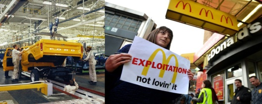 Collage of workers placing an F-Series bed onto frame at  Louisville Assembly Plant (Kentucky), 1973. (http://media.ford.com)and a woman carrying a sign past a McDonald's on East 125th Street during a protest by fast food workers and supporters, New York, NY, April 4, 2013. (Stan Honda/AFP/Getty Images via http//:financialpost.com).
