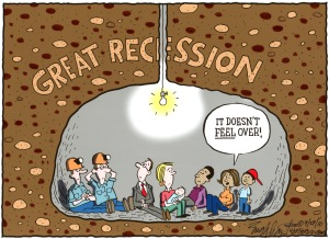 """""""Great Recession: It doesn't feel over,"""" Bob Englehart, Hartford Courant, September 29, 2010. (http://blogs.courant.com)."""
