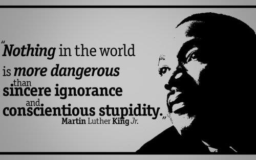 "MLK's ""Sincere Ignorance and Conscientious Stupidity saying, November 8, 2013. (http://bitterrealities.wordpress.com )"