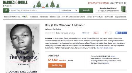 Screen shot on Boy @ The Window on Barnes & Noble website, December 11, 2013.