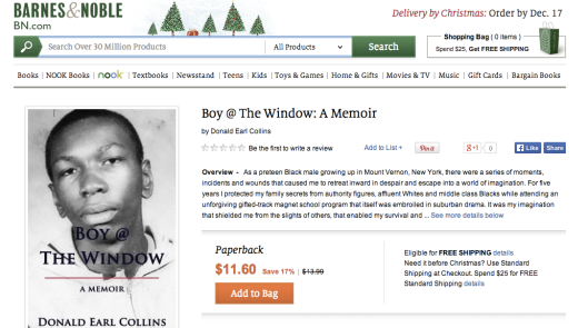 Screen shot on Boy @ The Window on Barnes & Noble website, December 11, 2013.