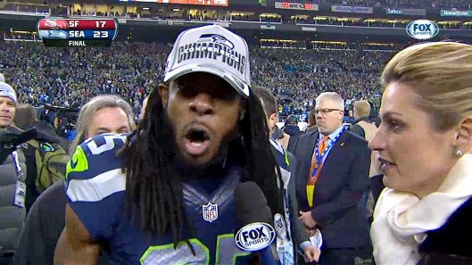 Screenshot of Richard Sherman post-game interview with Erin Andrews, NFC Championship Game, Seattle, WA, January 19, 2014. (http://msn.foxsports.com).