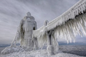 Michigan lighthouse entombed by ice, St. Joseph, Michigan, January 6, 2014. (Thomas Zakowski, HotSpot Media, via http://dailymail.co.uk).