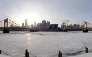 Frozen Pittsburgh, panoramic three rivers shot,  January 7, 2014. (Steve Mellon, http://www.post-gazette.com).