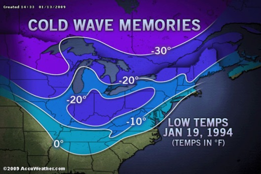 East Cold Wave Compared To 1994,  January 13, 2009. (http://www.accuweather.com).