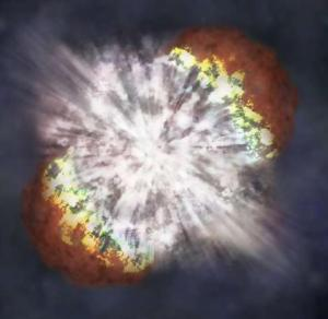 Artist rendering of supernova SN 2006gy, May 7, 2007. (http://science.nasa.gov).