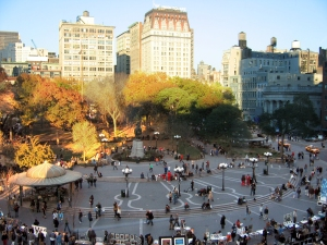 Union Square, Manhattan (about two blocks from NY office on Fifth Avenue), November 14, 2005. (Postdlf via Wikipedia). Released to public domain via Creative Commons 3.0.