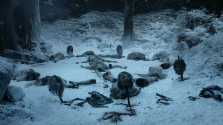 """Massacre perpetrated by white walkers north of The Wall, """"Winter Is Coming,"""" Game of Thrones (2011). (http://justagirlinlondon.wordpress.com)."""