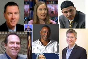 Collage of who's who in corporate education reform and who stands against it (from top left, across and down, John Deasy, LAUSD/Gates Fdn; Anthony Cody; Haimson; Perry; Hess; Duncan, Pedro Noguera; Barth; Kopp), February 13, 2014. (Donald Earl Collins).