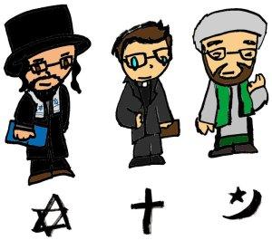 A rabbi, a priest and an imam, 2013-2014. (PizzaSpaghetti via http://www.deviantART.com).