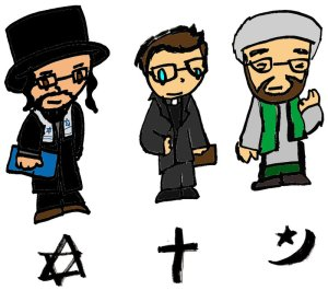 A rabbi, a priest and an imam, 2013-2014. (PizzaSpaghetti via http://www.deviantART.com).
