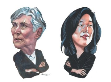 Diane Ravitch and Michelle Rhee, the two faces of American education, October 10, 2013. (James Ferguson, The New York Review of Books, http://nybooks.com).