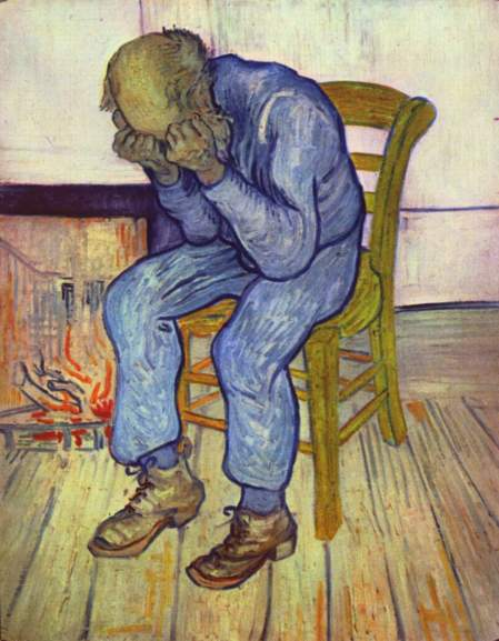 At Eternity's Gate, by Vincent Van Gogh, oil on canvas painting, Kröller-Müller Museum (The Netherlands), May 1890. (Eloquence via Wikipedia). In public domain.
