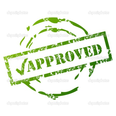Approved rubbed stamp in green, March 17, 2014. (http://depositphotos.com).