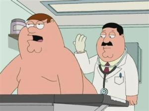 Prostate exam from Family Guy (1999-2003, 2005-present) screen shot, July 17, 2013. (http://chattanoogaradiotv.com).