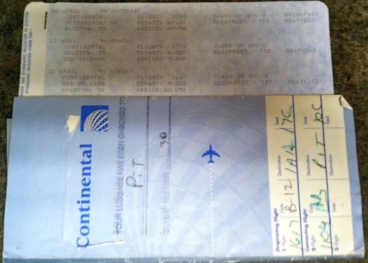 Continental Airlines ticket stubs/itinerary, Pittsburgh to New Orleans (with Houston layover), April 2-10, 1994. (Donald Earl Collins).