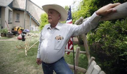 White supremacist and deadbeat grazing fee payer Cliven Bundy at his ranch, Bunkerville, Nevada, April 11, 2014. (Jim Urquhart/Reuters via http://www.newsweek.com).
