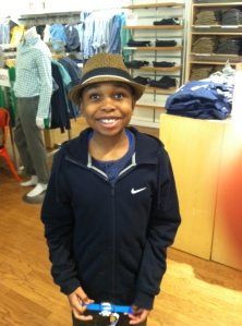 Noah trying to look cool at  The Gap store, Chevy Chase, MD, March 28, 2014. (Donald Earl Collins).