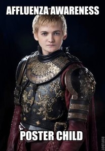 Affluenza Awareness Poster Child (of character King Joffrey from Game of Thrones), April 24, 2014. (Roflbot via http://disinfo.s3.amazonaws.com/).