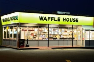 Waffle House, off UGA's main campus (and across street from seedy motel I stay in night before conference), Athens, GA, June 1, 2011. (http://www.123rf.com).