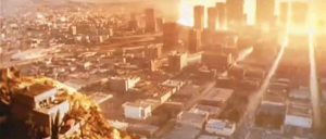 Cropped screen shot of Los Angeles at beginning of nuclear strike, from Terminator 2 (1991), May 3, 2014. (http://youtube.com).