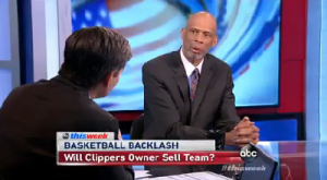 Writer, educator and NBA Hall of Famer Kareem Abdul-Jabbar on ABC's This Week discussing NBA's response to Donald Sterling's racist statements, May 4, 2014. (http://www.politifact.com).