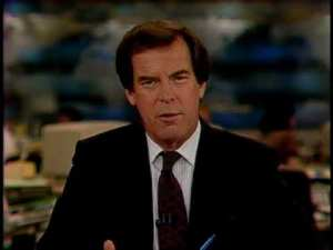 Peter Jennings, ABC World News Tonight anchor, November 1989 (broadcasting fall of Berlin Wall). (screenshot via Youtube).