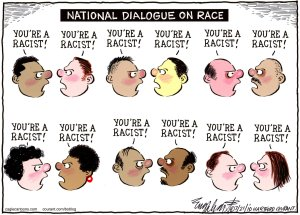 National dialogue on race cartoon, July 21, 2010. (Bob Englehart/Hartford Courant).