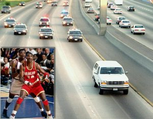 Screen shot of NBA on NBA coverage of 1994 NBA Finals, Game 5, MSG, New York at Bronco chase of OJ Simpson, I-405 in L.A., June 1, 1994. (SI photos via Tumblr).