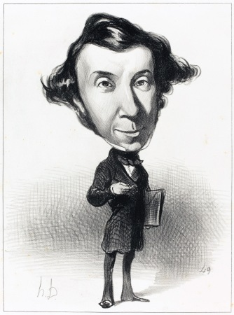 Alexis Tocqueville caricature (1849), by Honoré Daumier, National Gallery of Art, Washington, DC. (Wikipedia). In public domain.