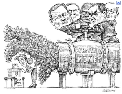 Matt Wuerker, Corporate Money/Vote Here, January 2010. (Politico.com). Qualifies as fair use -- low resolution, related to subject matter of this blog post.