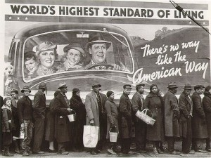 """World's Highest Standard of Living"" poster with Black flood victims in bread line, Louisville, Kentucky, by  Margaret Bourke White, February 15, 1937. (ThunderPeel2001 via Wikipedia). Qualifies as fair use under copyright laws -- low resolution."