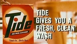 """Tide Gives You A Fresh, Clean Wash"" commercial (cropped screen shot), circa 1970 (guess our babysitter took this literally), October 14, 2013. (http://article.wn.com)."