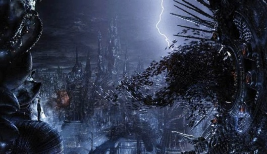 Swarm of Sentinels about to attack Neo in Machine City (screen shot), The Matrix Revolutions (2003), August 16, 2014. (http://www.cgw.com/images/). Qualifies as fair use under copyright laws - low resolution.