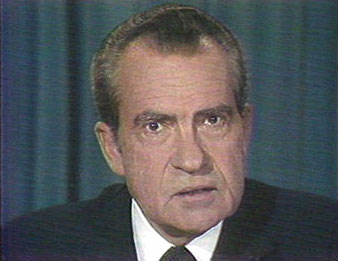 President Richard Nixon delivering his resignation speech (cropped screen shot) ahead of impeachment over Watergate, abuse of power, August 8, 1974. (http://washingtonpost.com). In public domain.