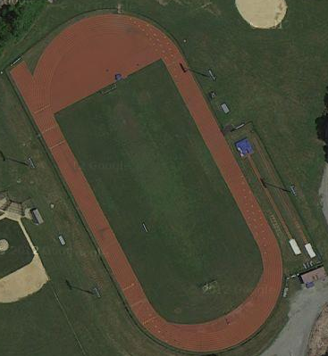 Aerial view of refurbished fields (for track and field, football, softball and tennis) across from MVHS (and the Cross County Parkway), Mount Vernon, NY, circa 2012. (Google Maps)