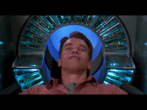"Total Recall (1990) scene where fake memories meet real ones (a.k.a., ""memory cap scene""), August 5, 2014. (http://www.rellimzone.com/)."