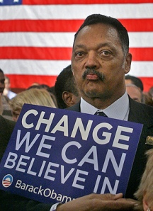Jesse Jackson, an Obama election sign, and the American flag -- three symbols in one picture, July 2008. (http://plus.google.com).
