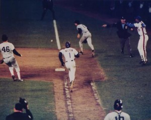 The Mookie Wilson-Bill Buckner connection, Game 6, 1986 World Series, Bottom 10th, Shea Stadium, Queens, NY, October 25, 1986. (http://halloffamememorabilia.net).