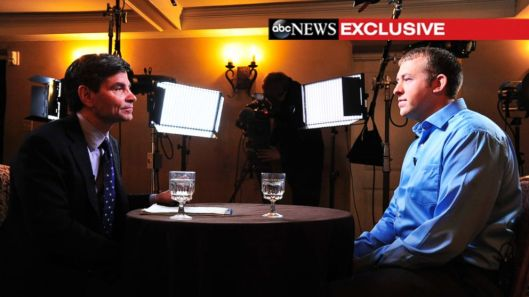 Dumb-assed George Stephanopoulos of ABC News interviewing Michael Brown murderer, former Officer Darren Wilson, November 25, 2014. (http://abcnews.go.com).