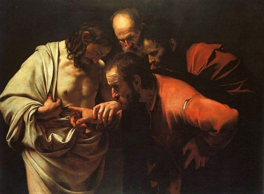 The Incredulity of Saint Thomas, by Caravaggio, c. 1601-02, uploaded April 13, 2005. (Dante Alighieri via Wikipedia). In public domain.