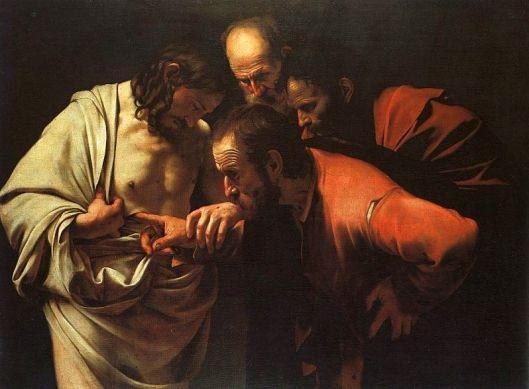 The Incredulity of Saint Thomas, by Caravaggio, c. 1601-02, uploaded April 13, 2005. (Dante Alighieri via Wikipedia). In public domain.