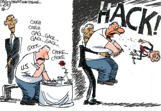 """Bush Gag"" cartoon, Pat Bagley, Salt Lake Tribune, November 5, 2008. (http://dailykos.com). Qualifies as fair use under copyright laws -- low resolution picture."