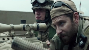 Preview clip screen shot of American Sniper (2014) with lead actor Bradley Cooper, January 23, 2014. (http://huffingtonpost.com).