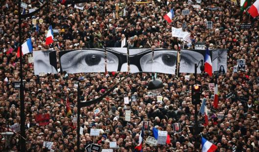 An estimate 1.6 million were part of Sunday's unity march following the attack on Charlie Hebdo and the hostage situations in Paris last week, Paris, France, January 11, 2015. (Christopher Furlong/Getty Images, via http://nydailynews.com).