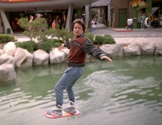 Michael J. Fox as Marty McFly on a hoverboard in 2015 in Back To The Future Part II (1989), screen shot, January 1, 2015. (http://youtube.com).