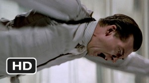 Billy Drago as Frank Nitti in The Untouchables (1987), falling to his fictitious death at Elliott Ness' hands in 1931 (he actually died from a self-inflicted gunshot wound in 1943). (http://youtube.com).